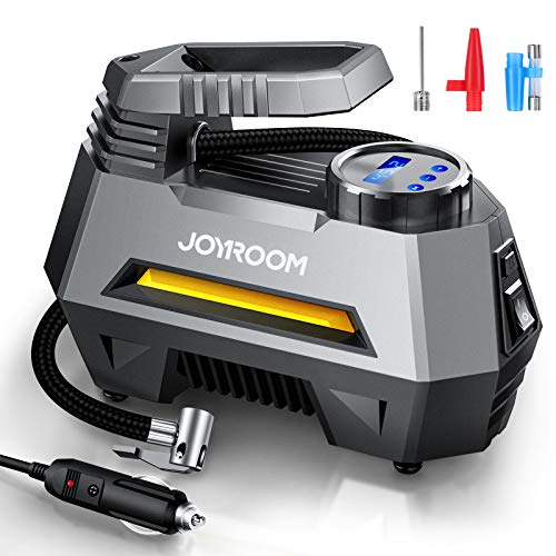 Joyroom Tire Inflator, Portable Tire Pump, Car Air Pump for DC 12V with Digital Air Pump Pressure Gauge (150 PSI), Bright Emergency Flashlight - for Auto, Trucks, Bikes, Balls CZK-3631 (Gray) ……