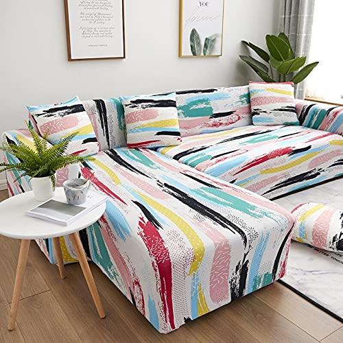 Sofabezug Geometrisch Recliner Sofabezug Wohnzimmer Elastischer Sofabezug Haustierecke L-förmige Chaiselongue Sofabezug A12 3 Sitzer