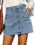 GRACE KARIN Women's Casual Button Down Denim Skirt High Waist Bodycon Pockets Jean Short Skirt Light Blue 2XL
