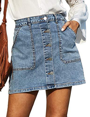 GRACE KARIN Women's Casual Button Down Denim Skirt High Waist Bodycon Pockets Jean Short Skirt Light Blue M