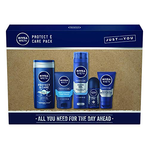 NIVEA MEN Protect & Care Giftpack, 5-Piece Men's Toiletry Gift Set, Caring and Protecting Formulas, Men Gift Set, Men's Gift Set with Full-Size Skincare Products