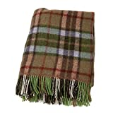 Biddy Murphy Irish Wool Blanket Knee Throw Green & Tan Small 54 Inches Long x 45 Inches Wide Fringed Warm Lambswool Made in Ireland