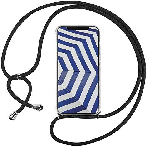 Mi-Case MiCase Funda con Cuerda para Xiaomi Xiaomi Mi MAX 2, Carcasa Transparente TPU Suave Silicona Correa Colgante Ajustable Collar Correa de Cuello Cadena Cordón - Negro