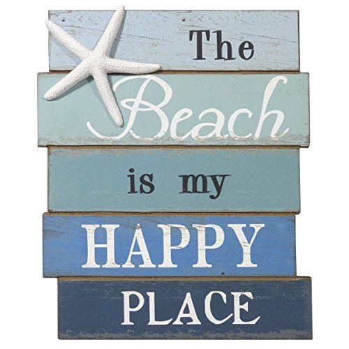 NIKKY HOME The Beach is My Happy Place Holz Wand Deko Schild 20 x 1,6 x 30,1 cm …