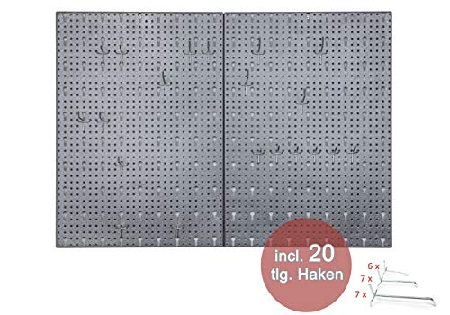 """Hakenwand Schlüsselbrett""""HOOK"""" bestehend aus 2 Metall Lochblechen mit Maß 40 x 58 x 1 cm sowie 20 teiligem Hakenset mit 10 Haken zu 10 cm und 10 Haken zu 6 cm Länge"""