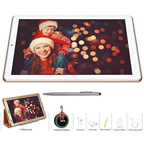 Tablet 10.1 Pollici Offerte, 4G Dual SIM con Wifi Tablet Memoria RAM da 4GB+64GB/128GB Tablet Android 9.0 Pie Quad-Core DUODUOGO Tablet Offerta Del Giorno con Netflix/OTG/Altoparlante Bluetooth(Oro)