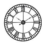 AMYZ Relojes de Pared de Metal Grandes Decorativos Grandes para la decoración de la Sala de Estar,Reloj de Metal de Gran tamaño con Pilas,B