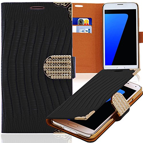 numerva kompatibel mit Samsung Galaxy Note 3 Neo Hülle Strass Schutzhülle Galaxy Note 3 Neo Handytasche Glitzer Schwarz