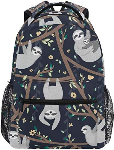MODORSAN Mochila escolar informal, divertidos perezosos que cuelgan en un árbol, mochila de viaje ligera, bolso de hombro universitario para mujeres, niñas y adolescentes