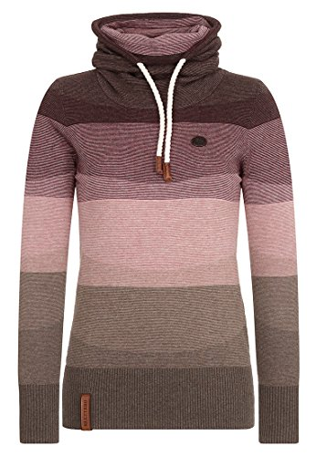 Naketano Damen Pullover, brown melange striped, Small