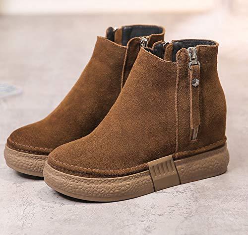 Shukun enkellaarsjes Pu korte laarzen Women'S Dik-Soled Lente En Herfst Modellen Dames Korte laarzen Verhoogde Vrouwelijke Schoenen Winter Katoen Schoenen