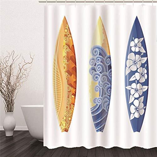 ZDPLL Cortina de Ducha Impresa en 3D Tabla de Surf Floral Cortinas de duche em poliéster impermeável, para la decoración del hogar 180x220cm