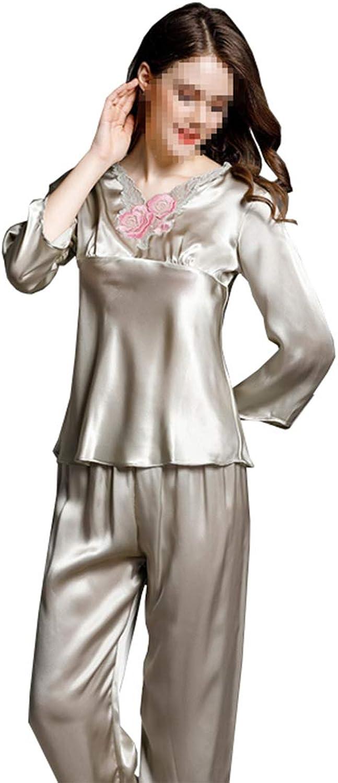 CEFULTY Longsleeved Silk Pajamas Ladies 100% Silk Home Service Lace Suit