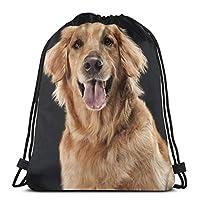 ゴールデンレトリバー犬巾着バックパックジムダンスバッグショルダートラベルバッグ誕生日ギフト36 x 43cm