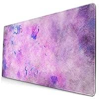 マウスパッド 大型 ゲーミング デスクマット 背景 古ぶり 紫 水彩画 簡潔 背景 葉書 かわいい 防水性 耐久性 滑り止め 多機能 超大判 40cm×75cm