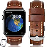 HUAFIY Compatible for Apple Watch Band 42mm 44mm Man, Top Grain Leather Band...
