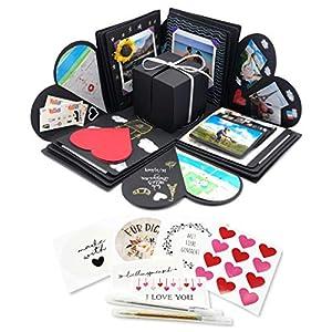 Kreativ Geschenkbox Explosionsbox (inkl. Stifte, Sticker) | DIY Überraschungsbox Basteln | Aufklappbare Bilderbox Fotoalbum | Perfekte Geschenkideen Geburtstag Valentinstag Hochzeit Weihnachten
