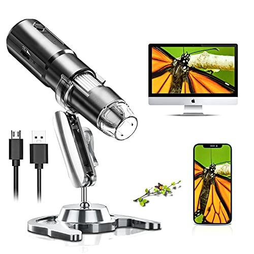 SKYBASIC Microscopio Digitale WiFi, Microscopio per Bambini con Ingrandimento 50X-1000X, Microscopio Portatile 1080P con 8 LED per Android iOS Windows Mac