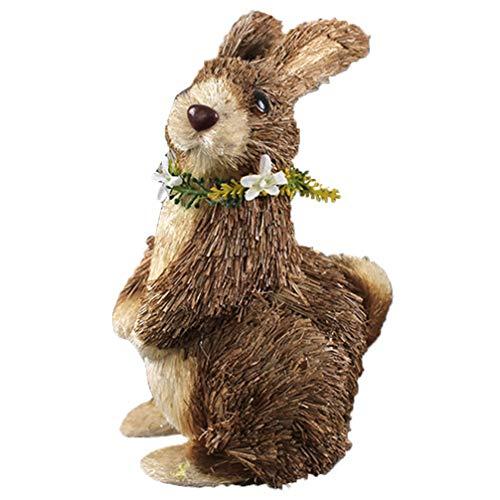 GARNECK 1PC Handmade Straw Decoration Garland Bunny Decor Home Wedding Easter Decor Straw Woven Garland Small Bunny Decor (Random Color)