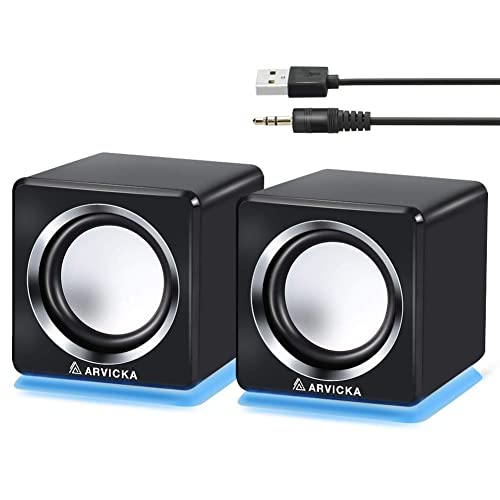 arvicka computer speaker, led accents usb speaker small mighty solid wired  multimedia speaker for pc