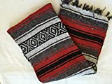 MEXIMART's Authentic Mexican Falsa Blanket Hand Woven (Red)