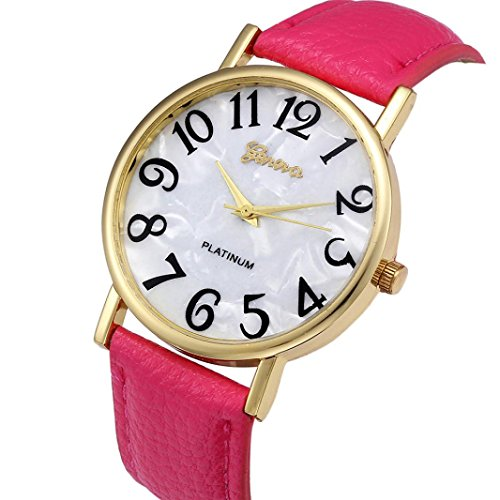 Xinantime Relojes Pulsera Mujer,Xinan Digital Retro Dial Cuero Banda Relojes de Cuarzo (Rosa Caliente)