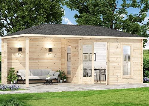 Alpholz 5 Eck Gartenhaus LIWA-28 aus Massivholz - Holz Blockhaus mit Überdachung - 5Eck Blockhütte mit Fenster, mit Imprägnierung Pinie/Kiefer
