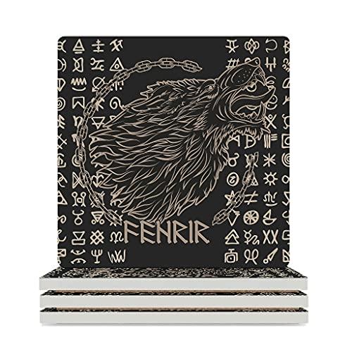 KittyliNO5 Posavasos cuadrados de cerámica con símbolos de lobo vikingo, juego de 4 o 6 posavasos absorbentes con tapón de corcho, para casa, cocina u oficina, color blanco, 6 unidades