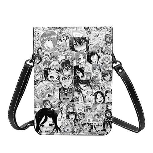 Ahegao Anime Girl Crossbody Bolso ligero pequeño pasaporte cartera de cuero para mujer bolsa de viaje playa