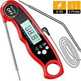 Meat Thermometer Instant Read, TEUMI BBQ Thermometer with Dual Probe & Alarm Setting
