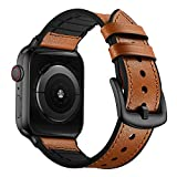 OUHENG Compatible with Apple Watch Band 42mm 44mm, Sweatproof Genuine Leather and Rubber Hybrid Band Strap Compatible with iWatch Series 6 5 4 3 2 1 SE, Light Brown Band with Black Adapter