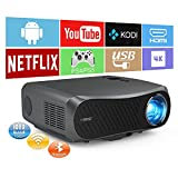 Native 1080P Movie Projector 7200 Lumen- Full HD WiFi Projector 4K Supported, Wireless Bluetooth Outdoor Projector with 5G Dual WiFi, Android Smart Home Multimedia 4P Keystone/ Zoom/ 2+16G Capacity -  CAIWEI