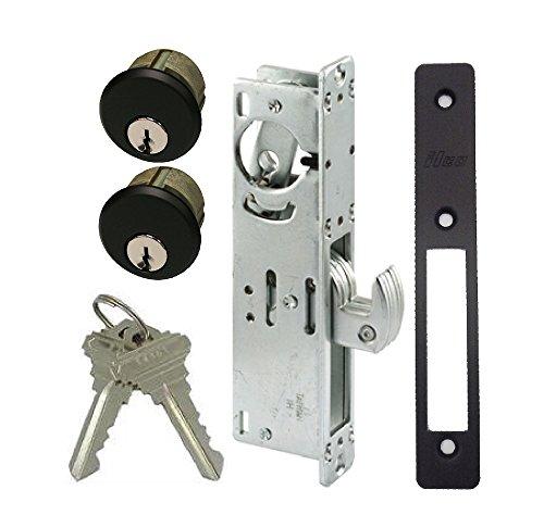 """Pacific Doorware Storefront Door Mortise Lock Hook Deadbolt & Double Keyed Cylinder Combo, Adams Rite Cam, in Duronotic (1-1/8"""" Backset)"""