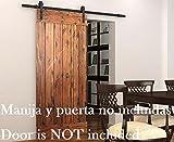 DIYHD 6ft Puerta de granero corredera estilo rústico americano puerta de granero corredera de madera para armario puerta granero herraje colgadocon guía rodamientos deslizantes (6ft-Riel de deslizamiento)
