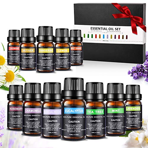 Essentiële oliën-set, Aiemok 12 x 10 ml aromatherapie-oliën Geschenkset voor diffuser en huid- en haarverzorging, 100% puur therapeutisch startpakket - het beste voor massage-spa-diffusors Premium geurende oliën (12 stuks)