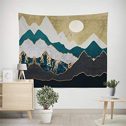 WERT Tapiz Colgante de Pared de montaña, Alfombrilla de Viaje para Acampar, patrón de Pintura al óleo del Amanecer, Alfombra de Yoga, Manta de Playa para Dormitorio A3 95x73cm