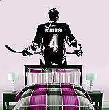 Decorazioni per la casa Hockey Ragazza Decalcomania da muro Arte su misura Signore Giocatore di hockey su ghiaccio Adesivi in vinile Scegli il nome e la decalcomania della parete digitale 120x177 cm