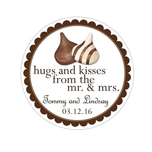 Personalized Customized Wedding Favor Stickers - Hershey Hugs and Kisses - Choose Your Size