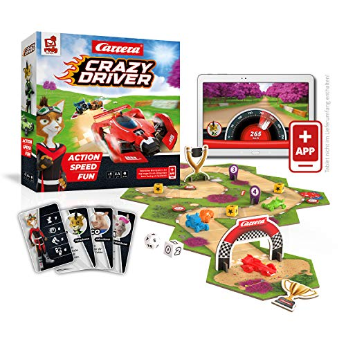 Rudy Games RG024 Crazy Driver – Interaktives Rennspiel mit App – Actionreiches Gesellschaftsspiel für die ganze Familie und Freunde – Ab 8 Jahren – Für 44231 Spieler