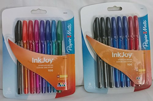 Paper Mate InkJoy 100ST Ballpoint Pen, Medium Point, Business Colors, 8 Count with BONUS Paper Mate InkJoy 100ST Ballpoint Pen, Medium, Fashion Colors, 8-Count Exclusive Bundle - 2 pieces
