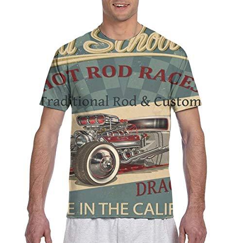 Zhgrong Camisetas para Hombre Club Automotive Vintage Hot Rod Car Motor Hombres Athletic Camisetas de Manga Corta Camiseta con Cuello Redondo