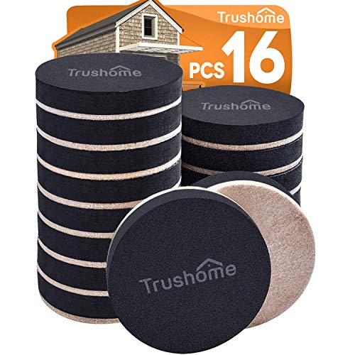 Furniture Sliders for Hardwood Floors, 16 Pack 3 1/2 inch Reusable Moving Pads Heavy Duty Felt Sliders, Move Heavy Furniture Quickly and Easily, Leave Under Furniture to Easily Move for Cleaning