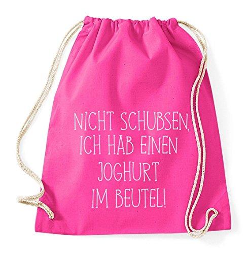 Nicht Schubsen, Ich Hab Einen Joghurt im Beutel Gym Bag Turnbeutel Rucksack Sport Hipster Style in 8 Farben, Farbe:Pink