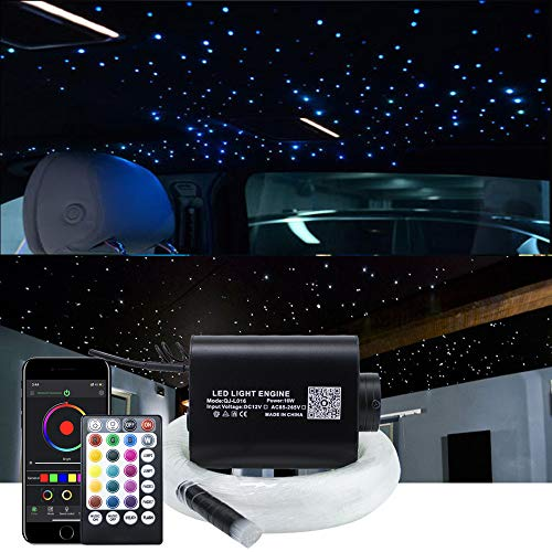 AKEPO 16W Fiber Optic Lights Star Ceiling Light Kit APP Control for Car & Home,Fibre Optical Cable Strands 150pcs 0.75mm 6.5ft/2m+28key Musical Remote Control