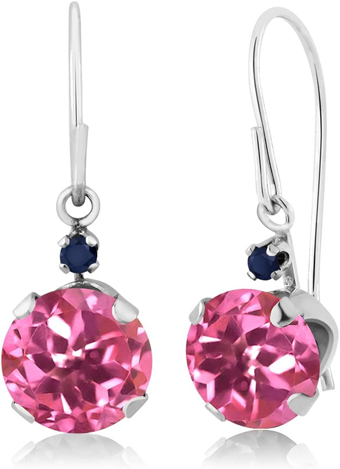 2.04 Ct Round Pink Mystic Topaz bluee Sapphire 14K White gold Earrings