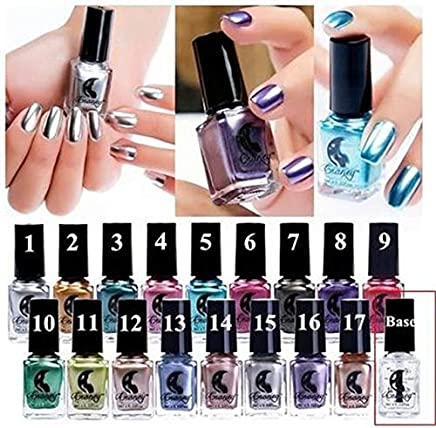 6ml New Arrival Gel Nail Polish Manicure Nails Art Design Metallic Stainless Steel Color Mirror Silver Nail Polish 12 Colors : base