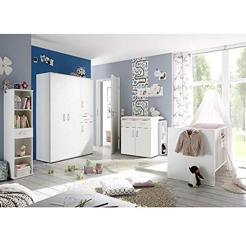 storado.de Babyzimmerset Sienna 8tlg. weiß matt Komplett Set mitwachsend Gitterbett Junior