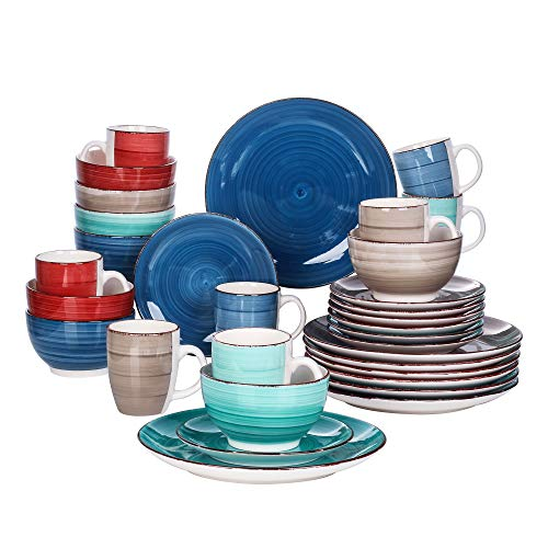 vancasso Bella Dinnerware Set 32 Pieces Porcelain Dinner Set Crockery in vintage look, Handpainted Ceramic Combination Sets Colorful with Dinner Plate Dessert Plate Bowl and Mug, Service for 8