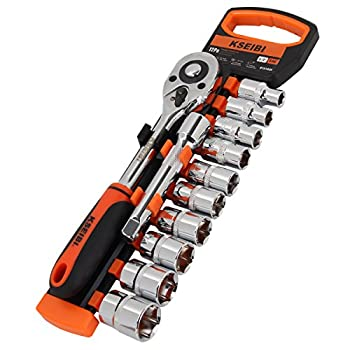 KSEIBI 103482 Drive Socket Set 10-24 mm Metric Cr-V 1/2 Inch 10 Dr Sockets with Quick Release Ratchet Handle and Extension Bar with Storage Rack