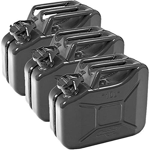 Oxid7 3X Benzinkanister Kraftstoffkanister Metall 10 Liter schwarz mit UN-Zulassung - TÜV Rheinland Zertifiziert - Bauart geprüft - für Benzin und Diesel